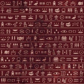 Wzór hieroglifów starożytny egipski papirus bez szwu. historyczny ze starożytnego egiptu. stary rękopis grunge z symbolami faraona i boga, skrypt.