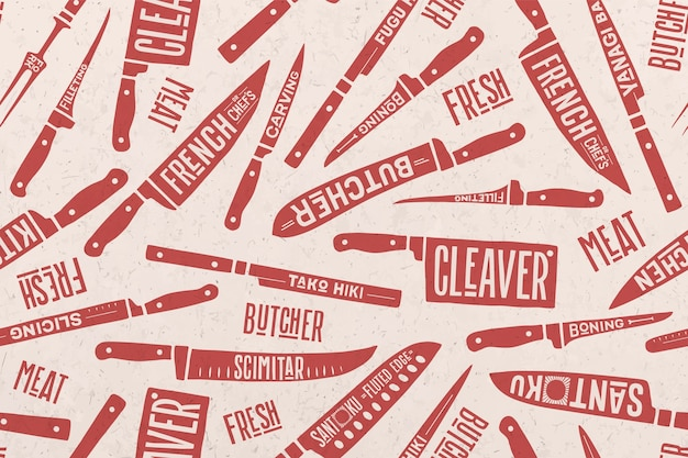 Wzór i tło noże do cięcia mięsa i ryb.