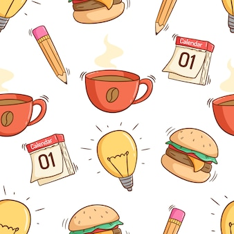 Wzór ikon szkoły lub pracy z kolorowym stylu doodle