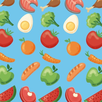 Wzór ikon zdrowej żywności