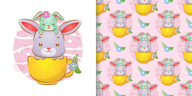 Wzór ilustracji małego królika siedzącego na głowie dużego królika w filiżance kawy