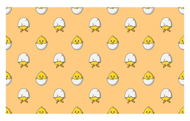Wzór ilustracji wektorowych bez szwu piskląt w skorupkach jaj
