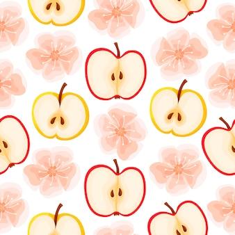 Wzór jabłek i kwiatów jabłoni. wzór owoców.