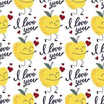 Wzór jabłka dmuchającego buziaki i napis i love you.