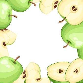 Wzór jabłka i plasterki jabłek. ilustracja z pustym miejscem na ozdobny plakat, emblemat produkt naturalny, rynek rolników. strona internetowa i aplikacja mobilna