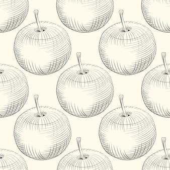 Wzór jabłka. owoc jabłkowy. grawerowanie w stylu vintage.