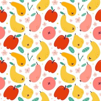 Wzór jabłko gruszka owoce, bezszwowe tło