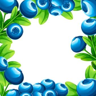Wzór jagód. ilustracja borówki z zielonymi liśćmi. ilustracja na ozdobny plakat, emblemat produkt naturalny, rynek rolników. strona internetowa i aplikacja mobilna.