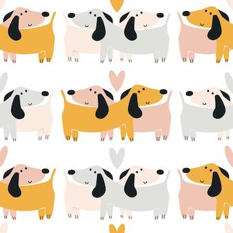 Wzór jamnika. śliczna para kochających psów. bezszwowe nadruk dla dzieci. tło do nadruku na pieluchach, pościeli, piżamie. tło dla papieru cyfrowego, scrapbookingu. ilustracja wektorowa, doodle