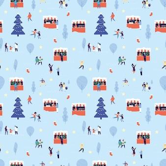 Wzór jarmarku bożonarodzeniowego. szczęśliwi ludzie zakupy, zimowe spacery na świeżym powietrzu. mężczyzna kobieta dziecko obchody nowego roku. uroczysty lub święta ulica wektor wzór. ilustracja uczciwy wzór świąteczny