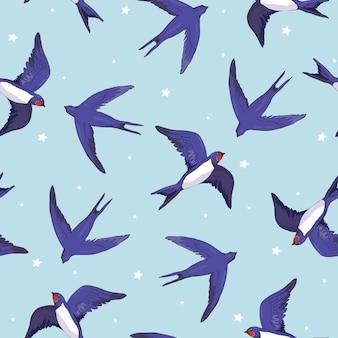 Wzór jaskółki ptaków