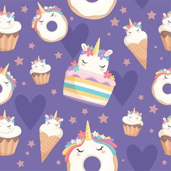 Wzór jednorożca. deser dekoracja magiczny kucyk z babeczki pączek słodycze uroczystość bezszwowe tło. ilustracja słodycze kucyk jednorożca, opakowanie rożka waflowego