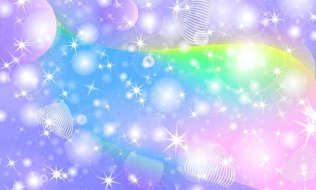 Wzór jednorożca. syrenka tęcza. świat fantazji. tło bajki. holograficzne magiczne gwiazdy. zestaw okładek. tęczowy jednorożec.
