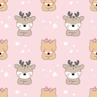 Wzór jelenia i lisa na różowy pastel.