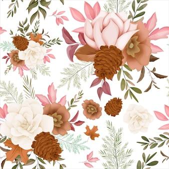 Wzór jesiennego kwiatu bez szwu