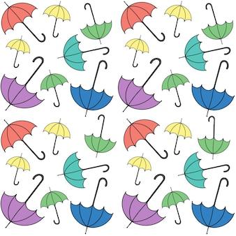 Wzór jesiennego parasola deszczowegoprosta ilustracja na baner okładki w tle v