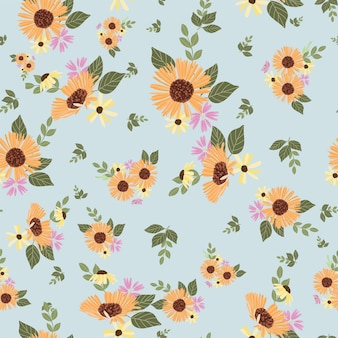 Wzór jesiennych kwiatów stokrotek