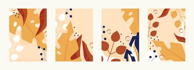 Wzór jesiennych liści w ciepłych, jasnych kolorach