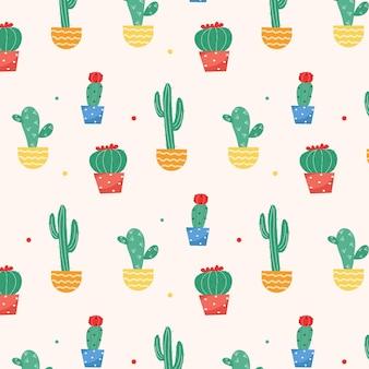 Wzór kaktusa z kolorowymi wazonami