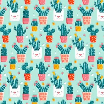 Wzór kaktusa z uroczymi doniczkami