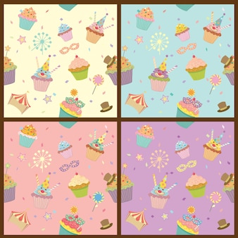 Wzór karnawałowy cupcakes