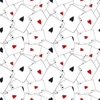 Wzór kart do gry. asa serca bez szwu. wzór gry w karty. nowoczesna dekoracja wzoru.