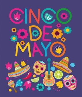 Wzór karty cinco de mayo
