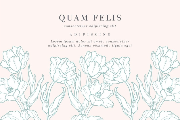 Wzór karty z ilustracji kwiatów tulipanów