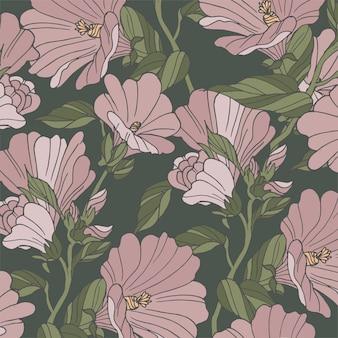 Wzór karty z kwiatami malwy