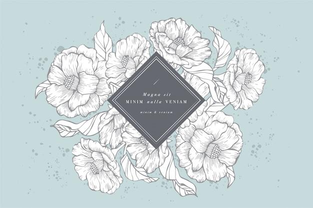 Wzór karty z kwiatami piwonie. wieniec kwiatowy. ramka kwiatowa do kwiaciarni z projektami etykiet. karta z pozdrowieniami kwiatowy piwonie lato. tło kwiaty do pakowania kosmetyków.