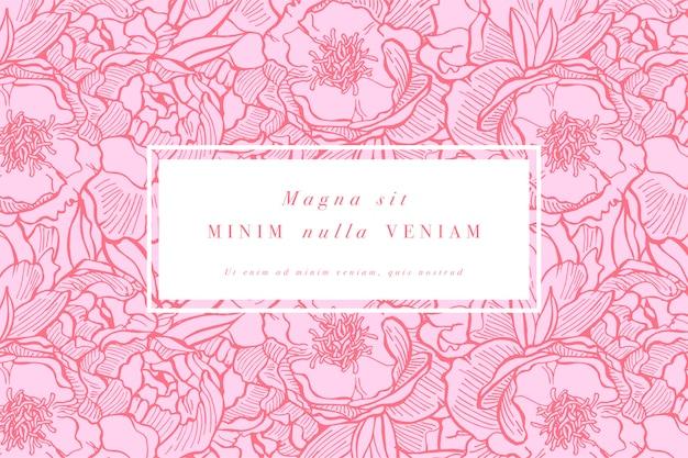 Wzór karty z kwiatami piwonii. wieniec kwiatowy. ramka kwiatowa do kwiaciarni z etykietą s. lato kwiatowy róża kartkę z życzeniami. tło kwiaty do pakowania kosmetyków.