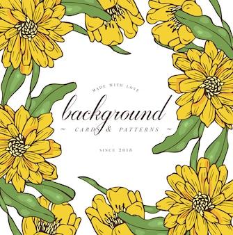Wzór karty z kwiatami róży. wieniec kwiatowy. ramka kwiatowa do kwiaciarni z projektami etykiet. karta z pozdrowieniami kwiatowy złoty stokrotka. tło kwiaty do pakowania kosmetyków.