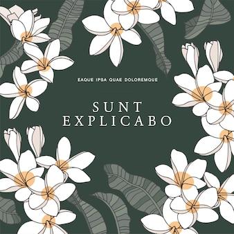 Wzór karty z kwiatów plumeria bez szwu