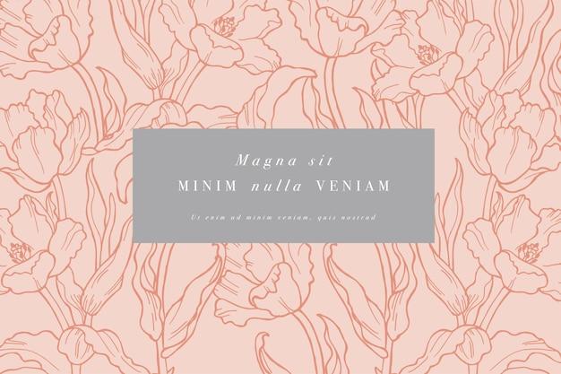 Wzór karty z kwiatów tulipanów. rama kwiatowa do kwiaciarni z projektami etykiet.