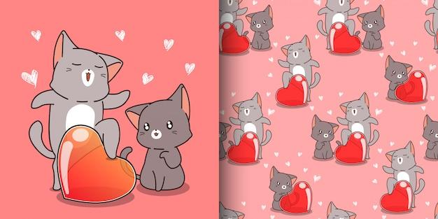 Wzór kawaii kot krzyczy słowo miłości