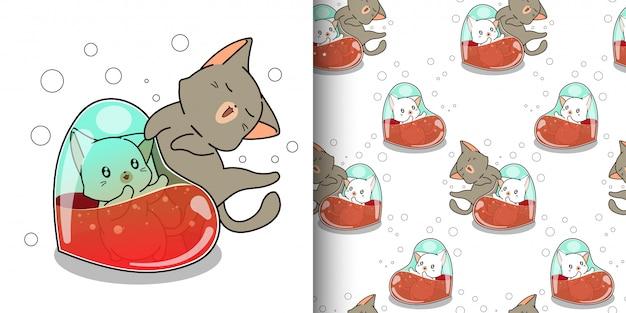 Wzór kawaii kot wewnątrz serca z przyjacielem