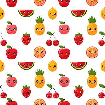 Wzór kawaii owoców tropikalnych na białym tle.