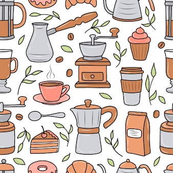 Wzór kawy z różnymi ekspresami do kawy i deserami na białym tle. doodle styl szkicu. ilustracja wektorowa dla kawiarni, kawiarni. słodkie zdjęcia z kreskówek.