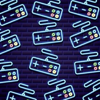 Wzór klasycznych kontrolek gier wideo w neonowym stylu linii