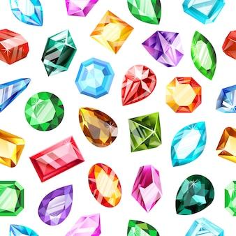 Wzór klejnotów. kryształowy kamień szlachetny, klejnot gry kamień szlachetny, luksusowy brylant, szafir i rubinowe klejnoty bezszwowe tło. biżuteria z kamieni szlachetnych, brylantowy skarb, diamentowy skarb