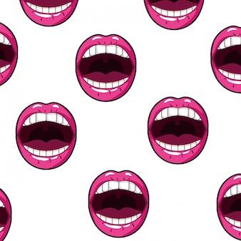 Wzór kobiece usta pop-art styl