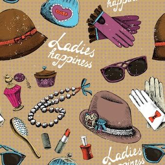 Wzór kobiety w rękawice okulary kapelusz perfumy i inne akcesoria