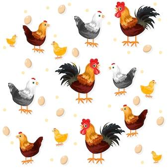 Wzór koguta, kurczaka i jaj