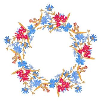 Wzór koła z cykorii. okrągły kalejdoskop kwiatów i elementów kwiatowych