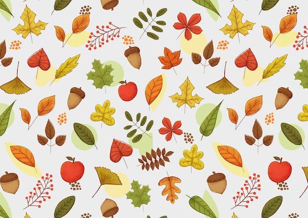 Wzór kolekcji liści sezonu jesień