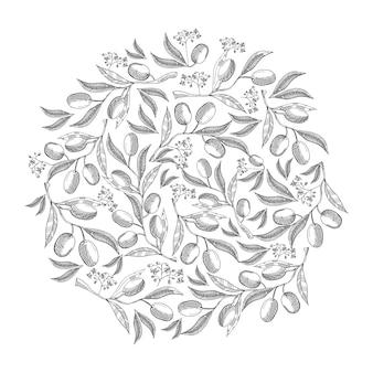 Wzór koło kwiat oliwny doodle z powtarzającymi się pięknymi jagodami na białej dłoni, rysunek ilustracja