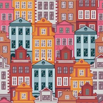Wzór - kolorowe domy w stylu amsterdam, praga. europejskie stare miasto. architektura europejska. stylizowane elewacje budynków.