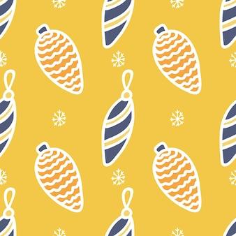 Wzór kolorowych świątecznych zabawek z białym konturem na żółtym tle z płatkami śniegu