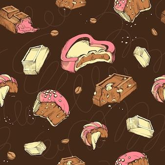 Wzór kolorowych szkiców ugryziony czekoladki. słodkie bułeczki, batony, glazura, ziarna kakaowe.