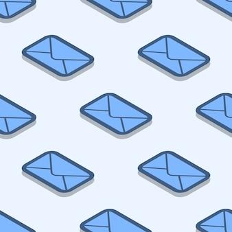 Wzór koperty. tekstura wektor poczty wykonane z ikonami zapieczętowanej koperty w stylu płaski
